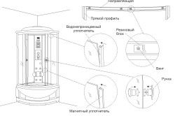 Детальна схема установки душової кабіни