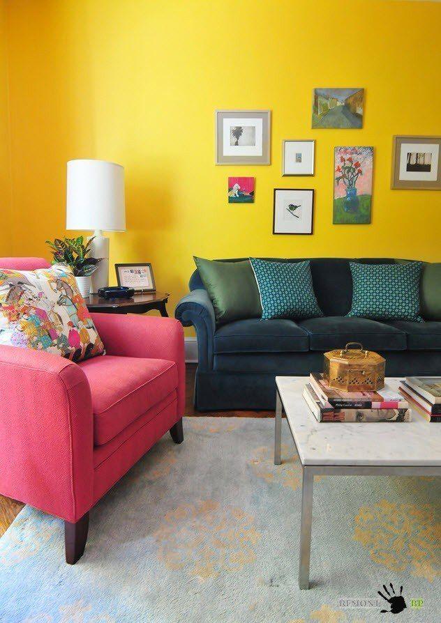 Фото - Жовтий колір в інтер'єрі вітальні - ваша особиста літо