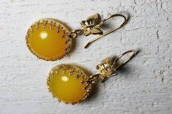 Сережки з жовтим агатом