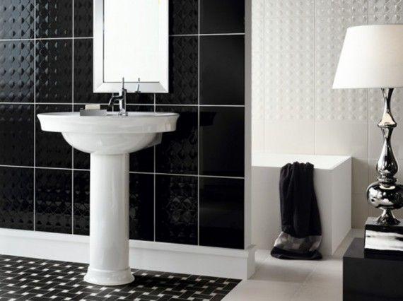 Фото - Чорно-біла ванна кімната: смугасті, шахові та інші ідеї