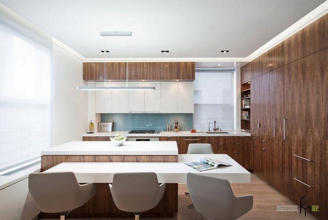 Біло-коричнева кухня
