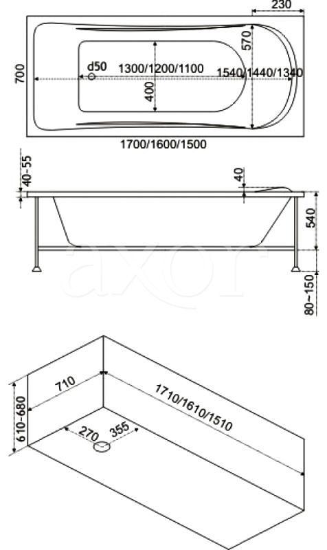Стандартні розміри прямокутної ванни