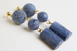 Сережки з блакитним коралом