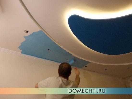 Шпаклівка і фарбування стелі з гіпсокартону