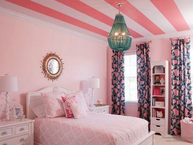 Жіночний інтерєр рожевої спальні