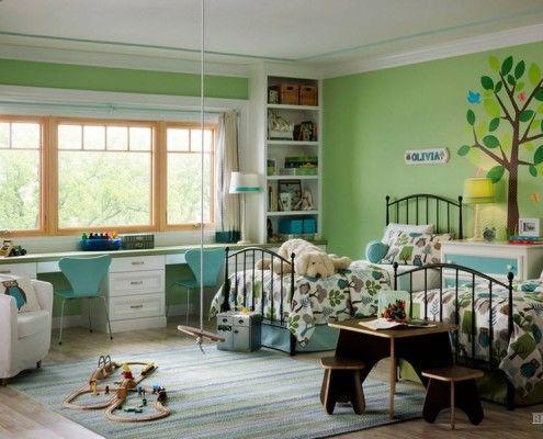 Зелений і бірюзовий колір в інтерєрі дитячої кімнати