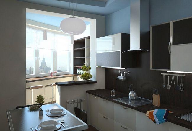 Дизайн кухні суміщеної з балконом
