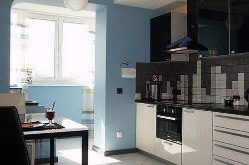 інтерєр кухні суміщеної з балконом фото