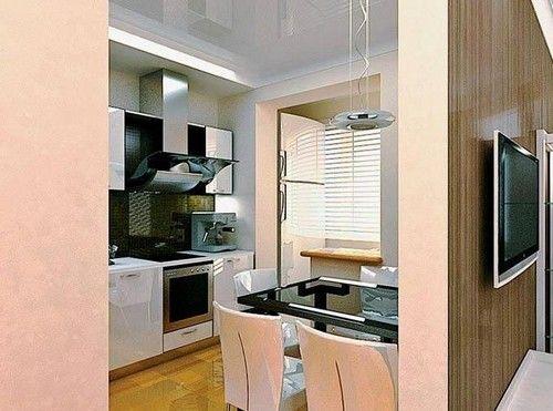 дизайн кухні обєднаної з балконом