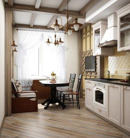 інтерєр кухні суміщеної з балконом