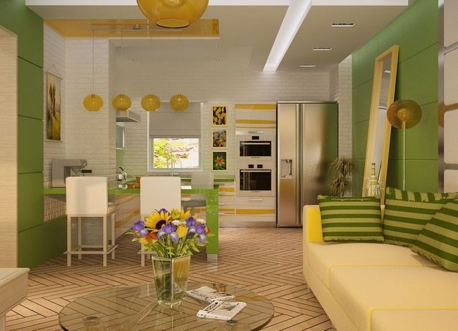 Фото - Дизайн невеликої міської кухні і вітальні