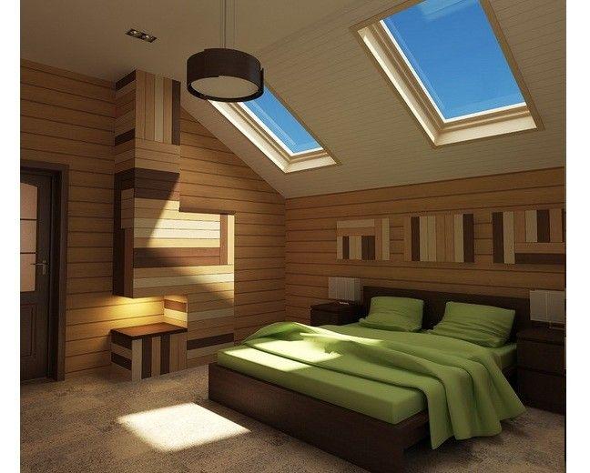 Фото - Дизайн спальні для дорослих і дітей на мансардному поверсі