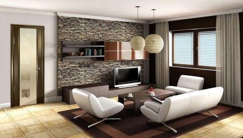 Фото - Дизайн стіни у вітальні під телевізор