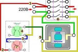 Схема підключення магнітного пускача через кнопковий пост