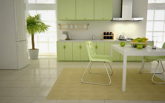 Фото - Фісташка кухня в інтер'єрі сучасного будинку