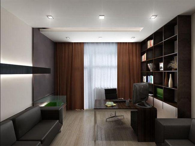 Фото - Функціональний дизайн вітальні в ролі кабінету