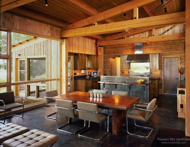 інтерєр кухні в деревяному котеджі