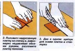 Схема різання плитки ручним плиткорезом