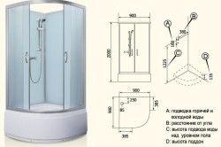 Схема пристрою душової кабіни.