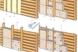 Схема кріплення утеплювача до деревяної стіни.