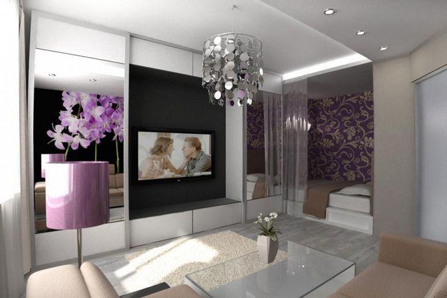 Фото - Інтер'єр і дизайн вітальні суміщеної з спальнею: сучасні ідеї