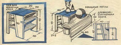 Схема табуретки-драбини зі столом