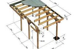 Схема деревяного навісу з розмірами.
