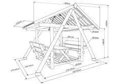 Схема пристрою деревяної альтанки-гойдалки