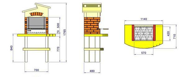Схема мангала з цегли