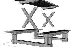 Схема столу з лавками