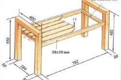 Схема деревяної лавки з підлокітниками