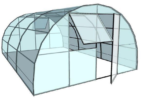 Теплиця арочного типу з покриттям із стільникового полікарбонату