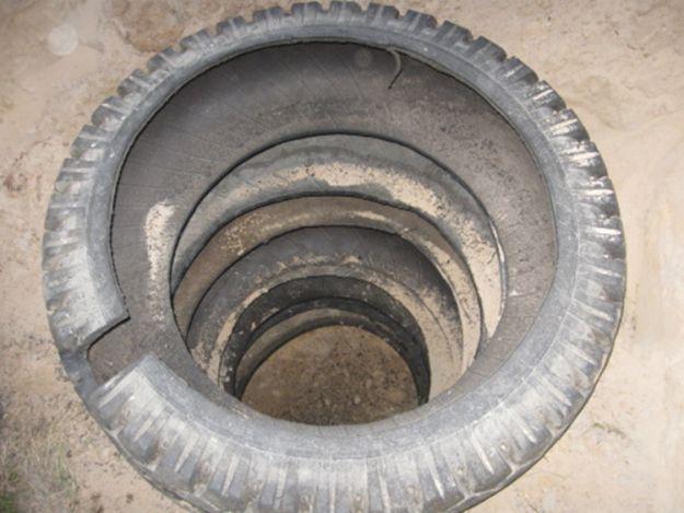 Фото - Як з шин зробити колодязь