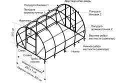 Схема пристрою каркаса теплиці