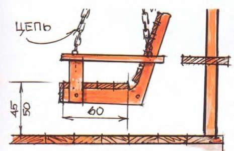 Схема металевих садових гойдалок