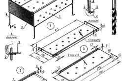 Схема пристрій розбірного мангала: 1-бокова стінка (2 шт) - 2-торцева стінка (2 шт) - 3-днище (2 шт) - 4-ніжка (4 шт) - 5-гайка М5 (4 шт).