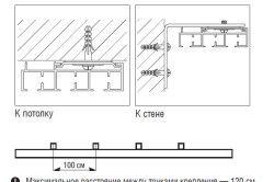 Схема способів кріплення рейкових карнизів