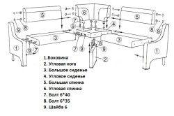 Схема збірки кутового дивана