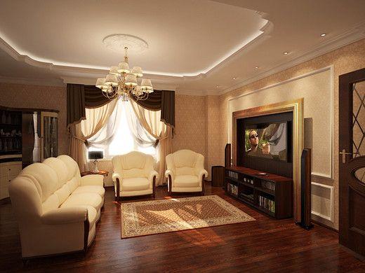 Дизайн інтерєру вітальні в класичному стилі