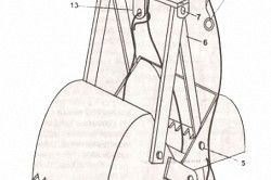 Схема ковша для чищення колодязів: 1. «Щелепи» ковша. 2. Ролик для троса. 3. Палець ролика. 4. Трос. 5,7 Болт М8 - 6 шт. 6. Тяга - 4 шт. 8.