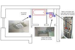 Схема розташування вентиляції у ванній