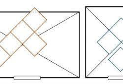 Схема укладання плитки по діагоналі від центру.