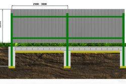 Схема паркану з монолітного полікарбонату