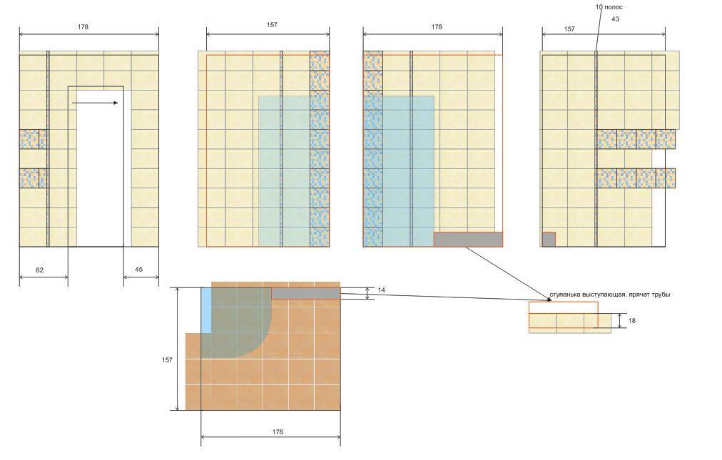Схема розкладки плитки у ванній