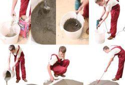 Процес вирівнювання підлоги у ванній.