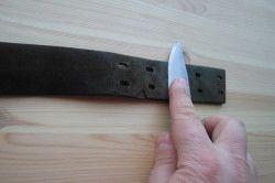 Шліфування ножа натуральною шкірою