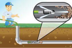 Схема прочищення каналізаційної труби хімічними засобами