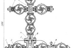 Схема фонтанної хрестової арматури для однорядного підйомника