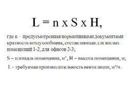 Формула для визначення повітрообміну по кратності