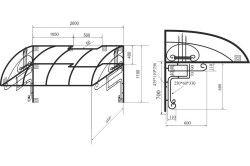 Схема металевого каркаса для навісу з розмірами